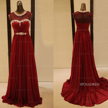 Wine red prom dresses, red homecoming dresses, long prom dresses, chiffon prom dresses, prom dresses 2014, evening dresses, RE341