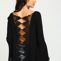 Black Crochet Back Crepe Bell Top