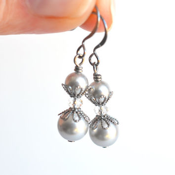 Grey pearl dangle earrings wedding drop earrings Swarovski pearl bridal jewelry wedding jewelry bridesmaid gift womens jewelry for her