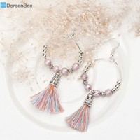 Doreen Box 1 Pair Handmade Earring Drop Loop Bohemia Boho Beaded Silver Color Pink Tassel Pendant Ethnic Earrings 7.8x3.2cm