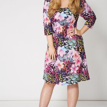Multicoloured Flower Print Drawstring Waist Dress