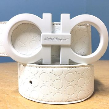 Salvatore Ferragamo Belt | Size 36 or 90cm | White Leather | White Buckle | RH