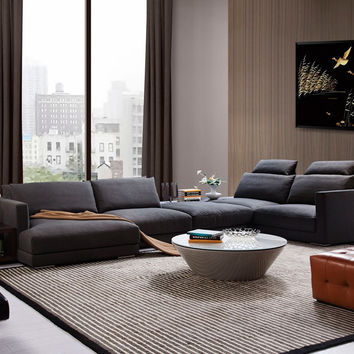 Modern Grey Fabric Sectional Sofa w/ Shelves & Desk