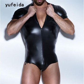 YUFEIDA Sexy Faux Leather Men's Lingerie Underwear Bodysuit Wrestling Singlet Siamese Boxers Gay Jumpsuits Leotard Costume