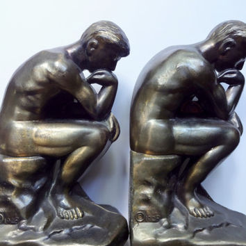 Vintage Set of Brass The Thinker Bookends 1928