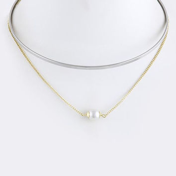 Drop Pearl Collar Necklace