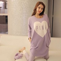Fashion Women Pajama Sets Autumn Spring Sleepwear Long Sleeve Cute Girls Kawaii Night Homewear   FS99