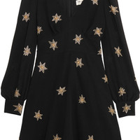 Saint Laurent - Embellished silk-georgette mini dress