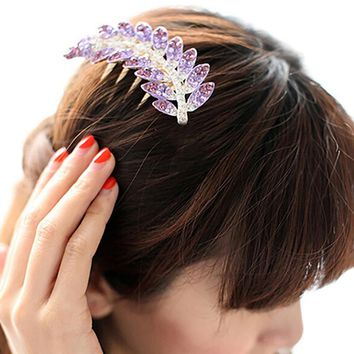 Women's Beautiful Fashion Leaf Crystal Hair Clip Wedding Bridal Hairpin Comb BSOW fermagli con pettine capelli donna