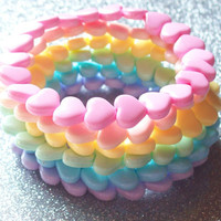 Rainbow Heart Stretch Bracelets - Set of 7