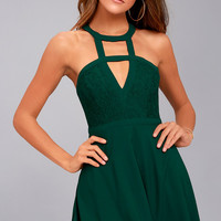 All My Daydreams Forest Green Lace Skater Dress