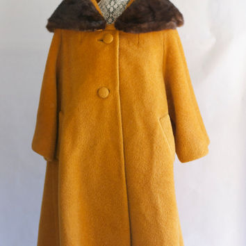 Vintage 1960's Lilli Ann Mustard and Brown swing Coat