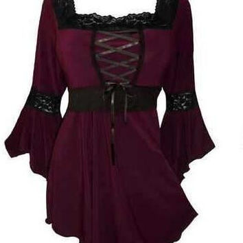 Vintage Lace Up Front Goth Top FREE SHIPPING!!!