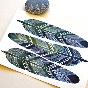 Feather Art - Watercolor Painting - Archival Print - 8x10 Earth Feathers