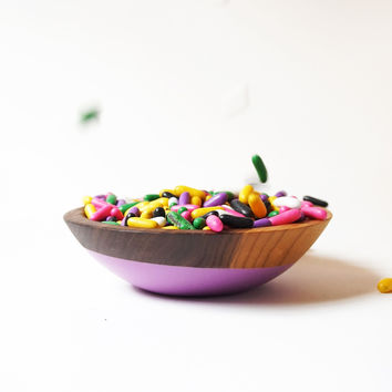 """Individual Snack Bowl 6""""Petite, Color Dipped WALNUT Wood"""