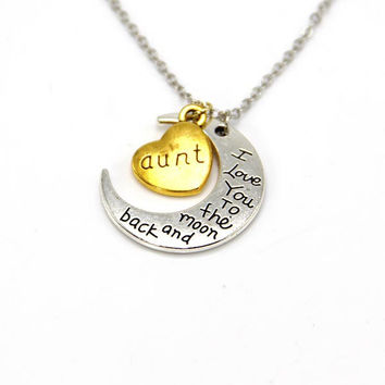 Hand stamped I Love You to the Moon and Back Charm Necklace Silver Gold aunt +Gift Box