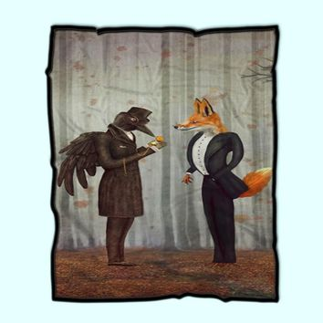 Raven And Fox In A Dark Forest Looking At The Watch 2 Fleece Blanket