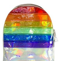 YRU Vinly Striped Rainbow Hologram base Backpack Adjustable Straps Punk Rock