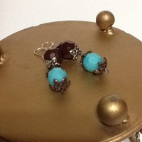Southwestern look brown and turquoise colored earrings