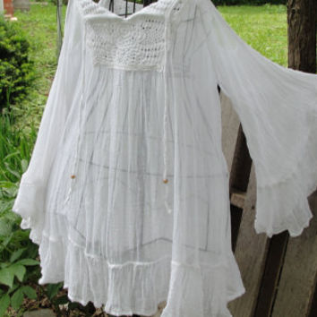 Gypsy boho bohemian white cotton gauze flowing hippie festival top/dress