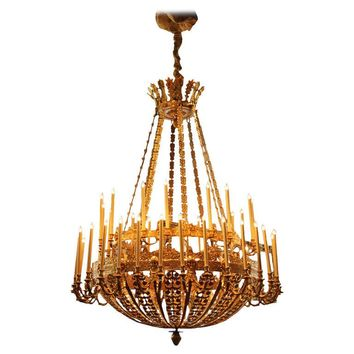 Palatial 19th Century French Empire Bronze Doré Forty-Six-Light Chandelier