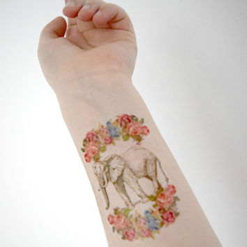 Temporary Tattoo Elephant - Floral, Vintage flowers, Elephant, Africa, Moss green, For her