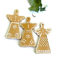 Ceramic Angels Set of 3 Eco Friendly Christmas Ornaments Pottery Decoration