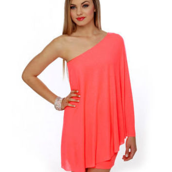Sexy Neon Dress - One Shoulder Dress - Hot Coral Dress - $59.00