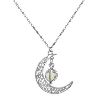 fashion Jewelry  Glow In The Dark Luminous Necklace Moon&Pumpkin shape style  Pendant Necklace Silver Plated #30