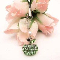 Green Apple Cell Phone Charm Strap Cubic Stone