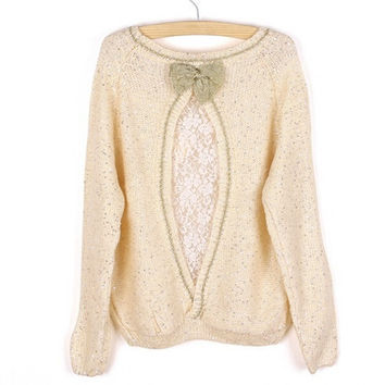 Golden Sequins Bow Sweater