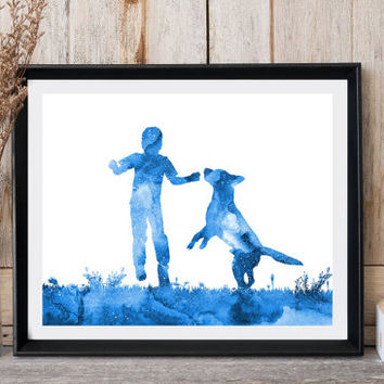 Kids room decor Dog print Boy print Dog with boy Nursery wall art Blue watercolor Dog printable Baby room decor Instant download Digital