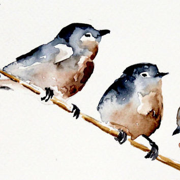 Grey and red Birds . Original watercolor Birds . painting . Bird series / Design painting . Cute Birds