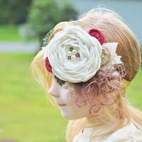 Jolie Headband - Girls Headbands - Baby Headbands - Newborn Headbands -  Fall Headband - Vintage Style - Pretty Headbands - Flower Girl Bow