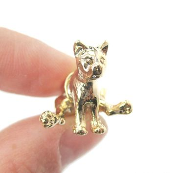 3D Sitting Kitty Cat Shaped Two Part Front Back Stud Earrings in Shiny Gold | DOTOLY