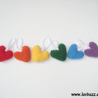 Plush Heart Ornaments set of six, amigurumi rainbow hearts, ready to ship.