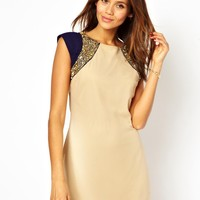 Little Mistress Shift Dress with Embellished Shoulders