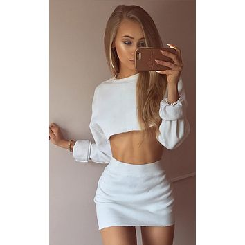 Easy Like Sunday Long Sleeve Round Neck Crop Sweatshirt Bodycon Mini Skirt Two Piece Set - 2 Colors Available