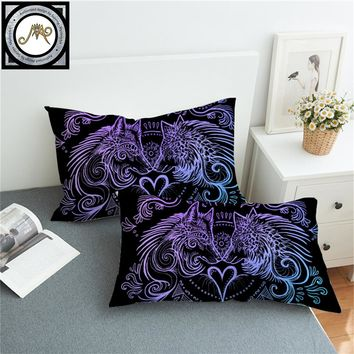 Wolves Heart by SunimaArt Pillowcase Blue and Purple Pillow Case Feathers Bedding Home Textile For Couples Pillow Cover 2pcs