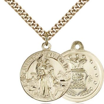 14K Gold Filled St Joan Of Arc Air Force Military Catholic Medal Necklace 617759762273