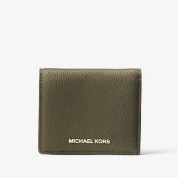 Authentic NWT Michael Kors 'Mercer' Leather Card Case Olive