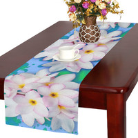 Plumeria Bouquet Exotic Summer Pattern Table Runner 16x72 inch | ID: D1262399