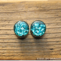 Disco Teal Glitter Plugs - 0g, 00g, 7/16, 1/2 Inch