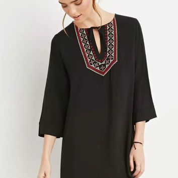 Black Embroidered Sleeve Shift Dress