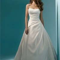 A-Line Dress Strapless Beaded Satin Wedding Dress WDAL081 -Shop offer 2012 wedding dresses,prom dresses,party dresses for girls on sale. #Category#