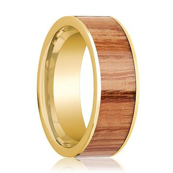 Mens Wedding Band 14k Yellow Gold with Red Oak Wood Inlay - 8mm