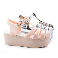 Disco01 Round Toe Fisherman Slingback High Flatform Jelly Sandals Gladiator Stap