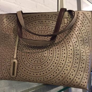 Laser Cut Tote - Pewter/Cocoa