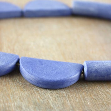 Tube necklace, tribal inspired, minimal & fun, blue polymer clay jewelry