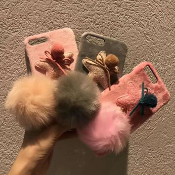 For iphone 8 plus Case Stars phone Case For iphone 6 6S 6plus/7 7plus  Furry Fur Back Cover for iphone 8 8plus +Pompon pendant